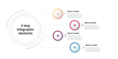 Business process chart infographic with 4 step circles. Circular corporate workflow graphic elements. Company flowchart presentation slide template. Vector info graphic design. Illusztráció