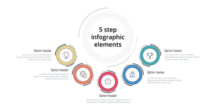 Business process chart infographic with 5 step circles. Circular corporate workflow graphic elements. Company flowchart presentation slide template. Vector info graphic design.