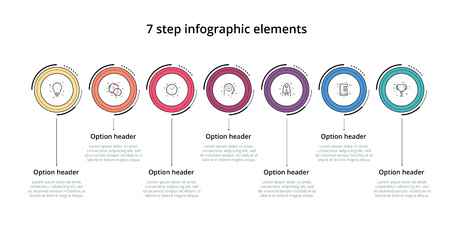 Business process chart infographic with 7 step circles. Circular corporate workflow graphic elements. Company flowchart presentation slide template. Vector info graphic design. Ilustracja