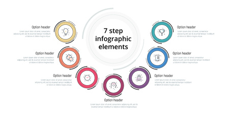 Business process chart infographic with 7 step circles. Circular corporate workflow graphic elements. Company flowchart presentation slide template. Vector info graphic design. Illustration
