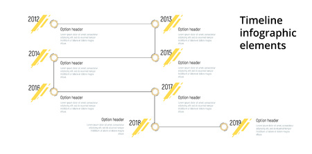Linear business step timeline workflow infographics. Corporate milestones graphic elements. Company presentation slide template with year periods. Modern vector history time line design. 일러스트