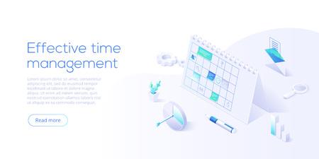 Programe el planificador de calendario o de oficina en la ilustración de vector isométrica. Concepto de gestión eficaz del tiempo. Fondo de optimización de trabajo para plantilla de diseño de banner web. Ilustración de vector