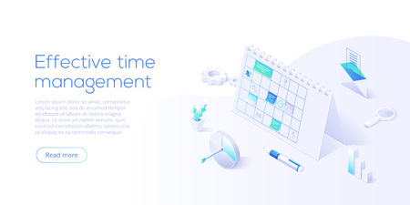 Schedule calendar or office planner in isometric vector illustration. Effective time management concept. Job optimization background for web banner layout template. Иллюстрация