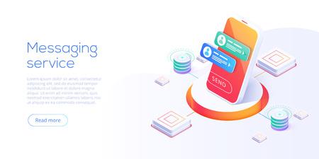 Mesaging service concept in isometric vector illustration. Electronic messenger app for smartphone. Webmail or mobile application layout for website landing header. 向量圖像