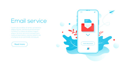 Email service creative flat vector illustration. Electronic mail message concept as part of business  marketing. Webmail or mobile service layout for website header. Newsletter sending background.