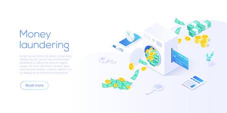 Izometryczne ilustracji wektorowych prania pieniędzy. Korupcja i nielegalne tło koncepcja biznesowa z praniem maszynowym waluty papierowej i monet. Szablon układu banera internetowego.