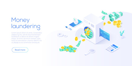 Money laundering isometric vector illustration. Corruption and illegal business concept background with machine washing paper currency and coins. Web banner layout template.