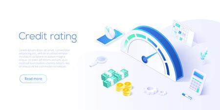 Kreditwürdigkeit oder Bewertungskonzept in isometrischer Vektorillustration. Kredithistorienzähler oder Waage für Bonitätsauskunft. Layoutvorlage für Webbanner.