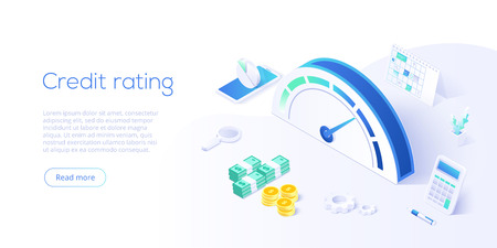 Puntuación de crédito o concepto de calificación en ilustración vectorial isométrica. Medidor de historial de préstamos o escala para informe de solvencia. Plantilla de diseño de banner web.