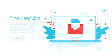 Email service creative flat vector illustration. Electronic mail message concept as part of business  marketing. Webmail or mobile service layout for website landing header. Newsletter sending background. Illustration