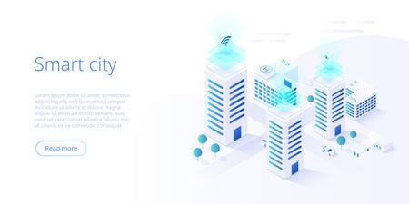 Intelligente Stadt oder isometrisches Vektorkonzept des intelligenten Gebäudes. Gebäudeautomation mit Computernetzwerkillustration. Managementsystem oder BAS thematischer Hintergrund. IoT-Plattform als Zukunftstechnologie.