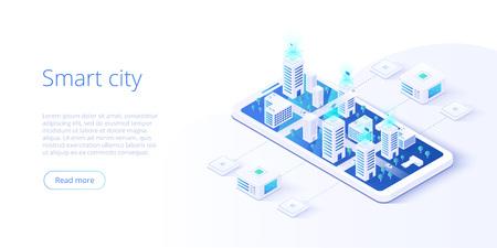 Città intelligente o concetto di vettore isometrico edificio intelligente. Automazione degli edifici con illustrazione di rete di computer. Sistema di gestione o background tematico BAS. Piattaforma IoT come tecnologia del futuro.