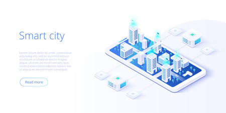 Ciudad inteligente o concepto de vector isométrico de edificio inteligente. Automatización de edificios con la ilustración de redes informáticas. Sistema de gestión o fondo temático BAS. Plataforma IoT como tecnología futura.