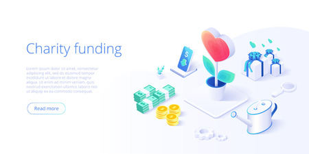 Charity fund or care in isometric vector concept. Volunteer community or donation metaphor illustration. Web banner layout for people help or support,  Illustration
