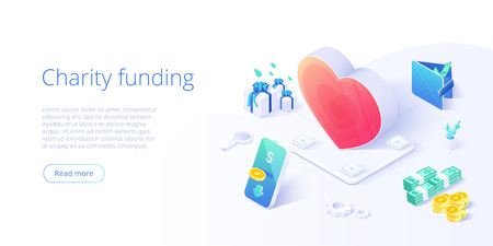 Charity fund or care in isometric vector concept. Volunteer community or donation metaphor illustration. Web banner layout for people help or support, 向量圖像