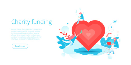 Charity fund or care in flat vector concept. Volunteer community or donation metaphor illustration. Web banner layout for people help or support, Illustration