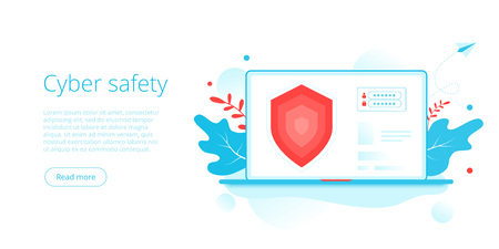 Cyber safety or personal data security in creative flat vector illustration. Online computer or mobile protection system. Web banner layout template.