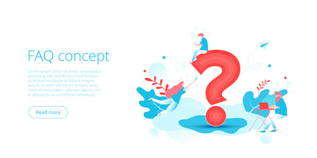FAQ concept in isometric vector illustration. Website frequently asked questions background with people and sign. Millenials sharing or following online using gadgets. Web banner layout template. Иллюстрация