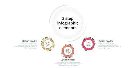 Infografía de gráfico de proceso empresarial con círculos de 3 pasos. Elementos gráficos circulares de flujo de trabajo corporativo. Plantilla de diapositiva de presentación de diagrama de flujo de la empresa. Diseño gráfico de información vectorial.
