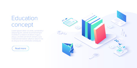 Online education concept vector illustration in isometric design. Internet distance training and courses on learning or educational platform. Website template.