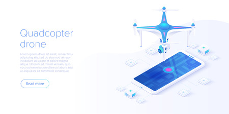 Quadcopter with smartphone remote control concept in isometric vector illustration. Flying camera drone or quadrotor helicopter videography background. Web banner layout template.