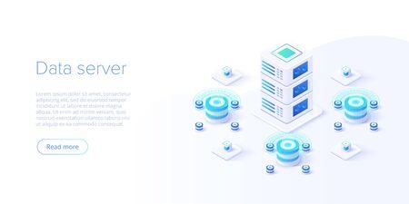 Illustrazione isometrica di vettore del server di hosting. Datacenter astratto o sfondo blockchain. Layout del sito web dell'infrastruttura mainframe di rete. Archiviazione di computer o postazione di lavoro agricola.