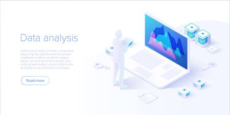 Data analysis in isometric vector design. Technician in datacenter or data center room background. Network mainframe infrastructure website layout. Computer storage or farming workstation. 版權商用圖片 - 127972538