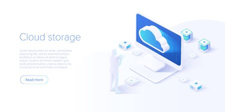 Cloud storage and pc download in isometric vector design. Computer service or app with data transfering. Online computing technology. Abstract server network connection. Ilustrace
