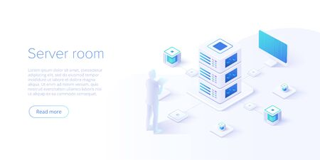 Isometrische Vektorillustration des Rechenzentrums. Abstrakter Hosting-Server- oder Rechenzentrumsraumhintergrund. Website-Layout der Netzwerk- oder Mainframe-Infrastruktur. Computerspeicher oder Farmarbeitsplatz.