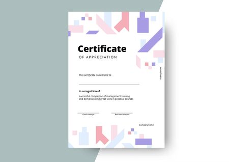 Certificate of appreciation template design. Elegant business diploma layout for training graduation or course completion. Vector background illustration.