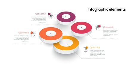Business process chart infographics with 4 step circles. Circular corporate workflow graphic elements. Company flowchart presentation slide template. Vector info graphic design. Ilustrace