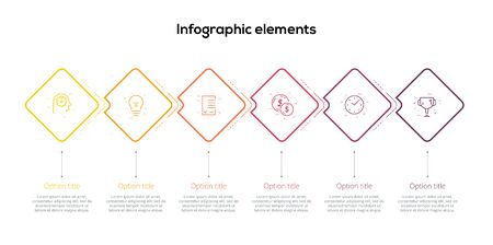Business process chart infographics with 6 step rhombs. Square corporate workflow graphic elements. Company flowchart presentation slide template. Vector info graphic design.