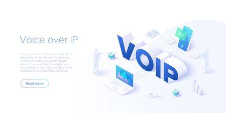 Illustration de concept de vecteur isométrique voip. Arrière-plan de la technologie voix sur IP ou protocole Internet. Logiciel d'appel téléphonique en réseau. Modèle de mise en page de site Web pour les bannières Web.
