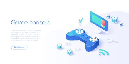 Video game controller and smart tv in isometric vector illustration. Television set with video game console joystick connected via wifi internet. Web banner layout template for website or social media