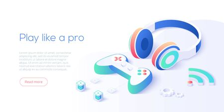 Video game controller and headphones set in isometric vector illustration. Video game console joystick connected via wifi internet. Web banner layout template for website or social media. Çizim
