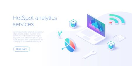 Wifi network analysis concept in abstract vector illustration. Hotspot statistics with laptop. Creative website layout or landing page template. Web banner concept.
