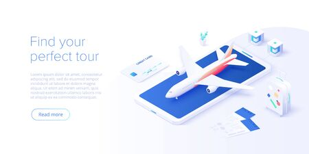Travelling by air concept in isometric vector illustration. Around the world flight tour or trip. Cheap airline tickets searching and booking service Website layout or web banner template. Illusztráció