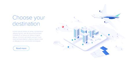 Travelling by air concept in isometric vector illustration. Around the world flight tour or trip. Cheap airline tickets searching and booking service Website layout or web banner template. Ilustração