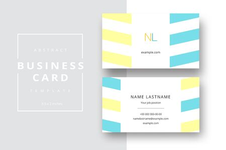 Trendy minimal abstract business card template. Modern corporate stationery id layout with geometric pattern. Vector fashion background design with information sample name text.