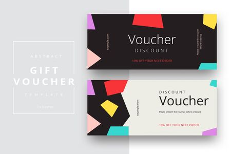 Abstract gift voucher card template. Modern discount coupon or certificate layout with geometric shape pattern. Vector fashion bright background design with information sample text. Reklamní fotografie - 133318236