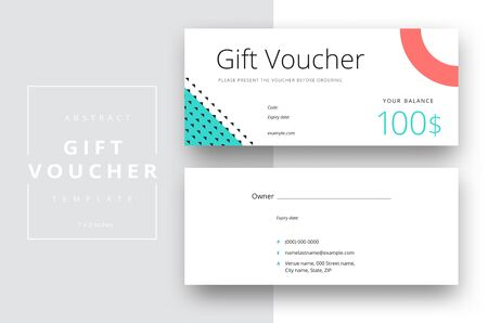 Abstract gift voucher card template. Modern discount coupon or certificate layout with geometric shape pattern. Vector fashion bright background design with information sample text. Reklamní fotografie - 133317744