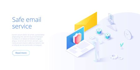 Email service security creative vector illustration. 向量圖像