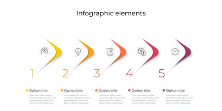 Business process chart infographics with 5 steps. Corporate workflow graphic elements. Company flowchart presentation slide template. Vector info graphic design. 向量圖像