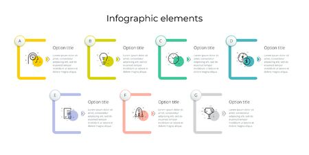 Business process chart infographics with 7 step rectangles. Rectangular corporate workflow graphic elements. Company flowchart presentation slide template. Vector info graphic design.