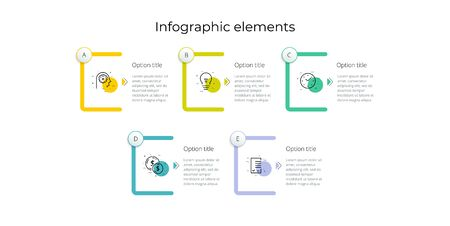 Business process chart infographics with 5 step rectangles. Rectangular corporate workflow graphic elements. Company flowchart presentation slide template. Vector info graphic design. 向量圖像