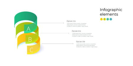 Business process chart infographics with 3 step rings. Circular corporate workflow graphic elements. Company flowchart presentation slide template. Vector info graphic design.