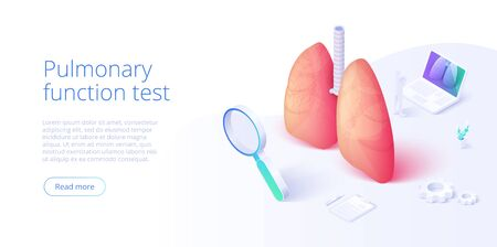 Pulmonary function test illustration in isometric vector design. Pulmonology theme image with doctor analyzing lungs on monitor. Respiratory medical diagnostics. Web banner layout template. 向量圖像