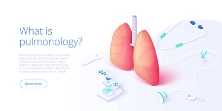 Pulmonary function test illustration in isometric vector design. Pulmonology theme image with doctor analyzing lungs on monitor. Respiratory medical diagnostics. Web banner layout template. Illustration