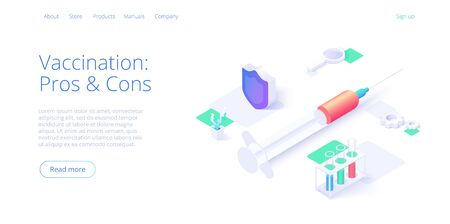 Vaccination theme illustration in isometric vector design. Flu injection with syringe needle. Medical antidote shot or anti virus vaccine. Pharmacy or hospital web banner layout template. 向量圖像