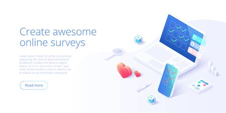 Online survey concept in isometric vector illustration. Feedback checklist or rating with smartphone. User research or evaluation service on product or app. Web banner layout template.
